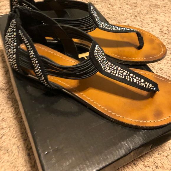 0d340068e99 Xhilaration Shoes | Xhiliration Black Sandals W Rhinestones Size 8 ...